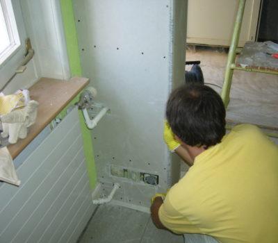 Umbau: Küche – Gipserarbeiten, Trockenbau, Abrieb, Parkett, Keramik, Malerarbeiten